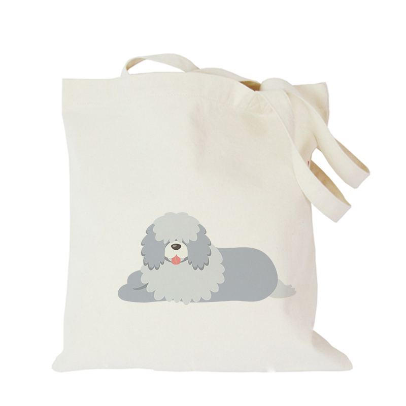 Pet dog series canvas bag custom tote bag customized eco bags custom made shopping bags with logo  Dachshund Shepherd Dog Poodle (7)