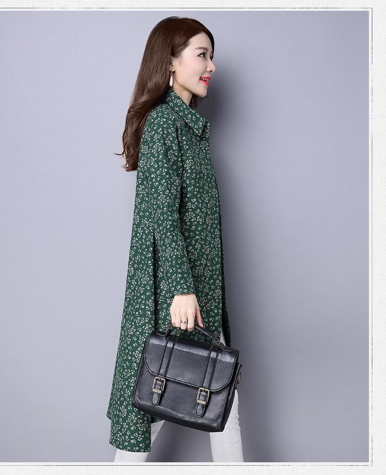 BUYKUD Vintage Shirt-Coats 2018 Autumn Winter New Long Sleeve Printed Coat Office Lady Irregular hem Women Button Linen Coats 11