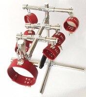 Hot sale K9 bdsm bondage torture device stainless steel restraints frame fetish slave neck collar handcuffs ankle cuffs sex toys