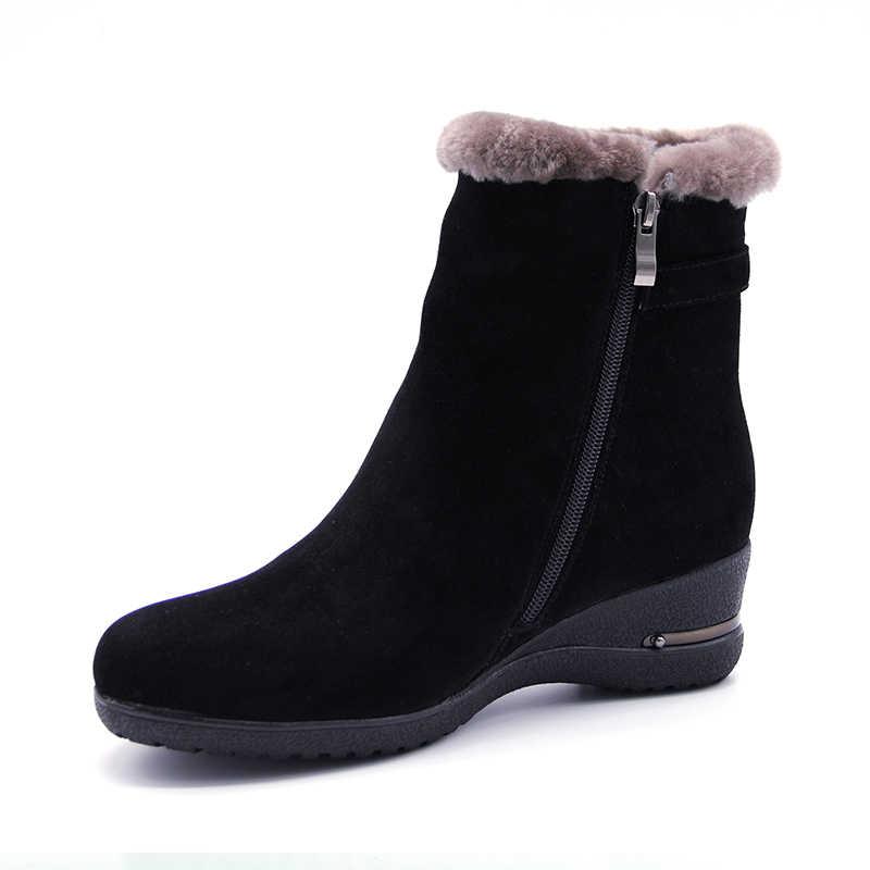 2018 Mùa Đông thời trang Giày Mùa Đông Ấm Áp Phụ Nữ Thực Da Len Lông Ấm Mắt Cá Chân Tuyết Phụ Nữ Khởi Động Dây Đeo Chéo nêm Nền Tảng giày