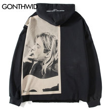 GONTHWID Kurt Cobain Print Hoodies Men Hip Hop Casual Punk Rock Pullover Hooded Sweatshirts Streetwear 2020 Fashion Hoodie Tops