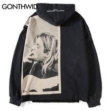 GONTHWID Kurt Cobain baskı Hoodies erkekler Hip Hop rahat Punk Rock kazak kapüşonlu eşofman üstü Streetwear 2020 moda Hoodie Tops
