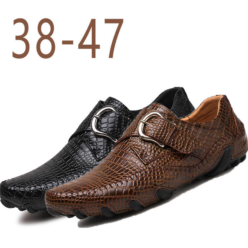 051096d3b5cc New Fashion Men s Crocodile Grain Leather Shoes Mens Casual Party Driving  Loafers Man Wedding Flats Moccasins