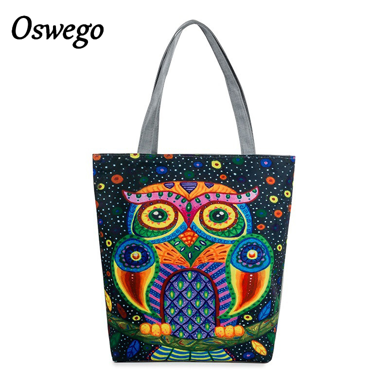 OSWEGO Top Handle Bags Cartoon Owl Printing Canvas Women Large Capacity Zipper Shopping Bag Summer Beach Bag Ladies Casual Tote