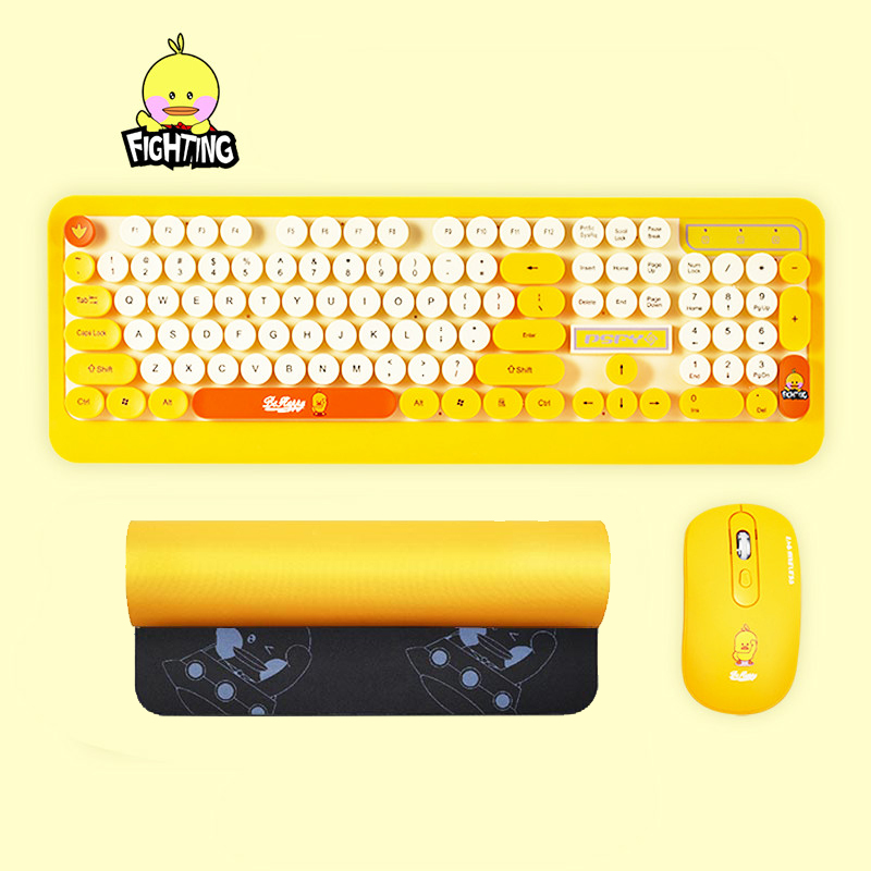 Gaming Wireless Keyboard Mouse Combos Cute Punk Retro Round Keycap Cartoon Personality Computer Peripherals for Desktop Laptop