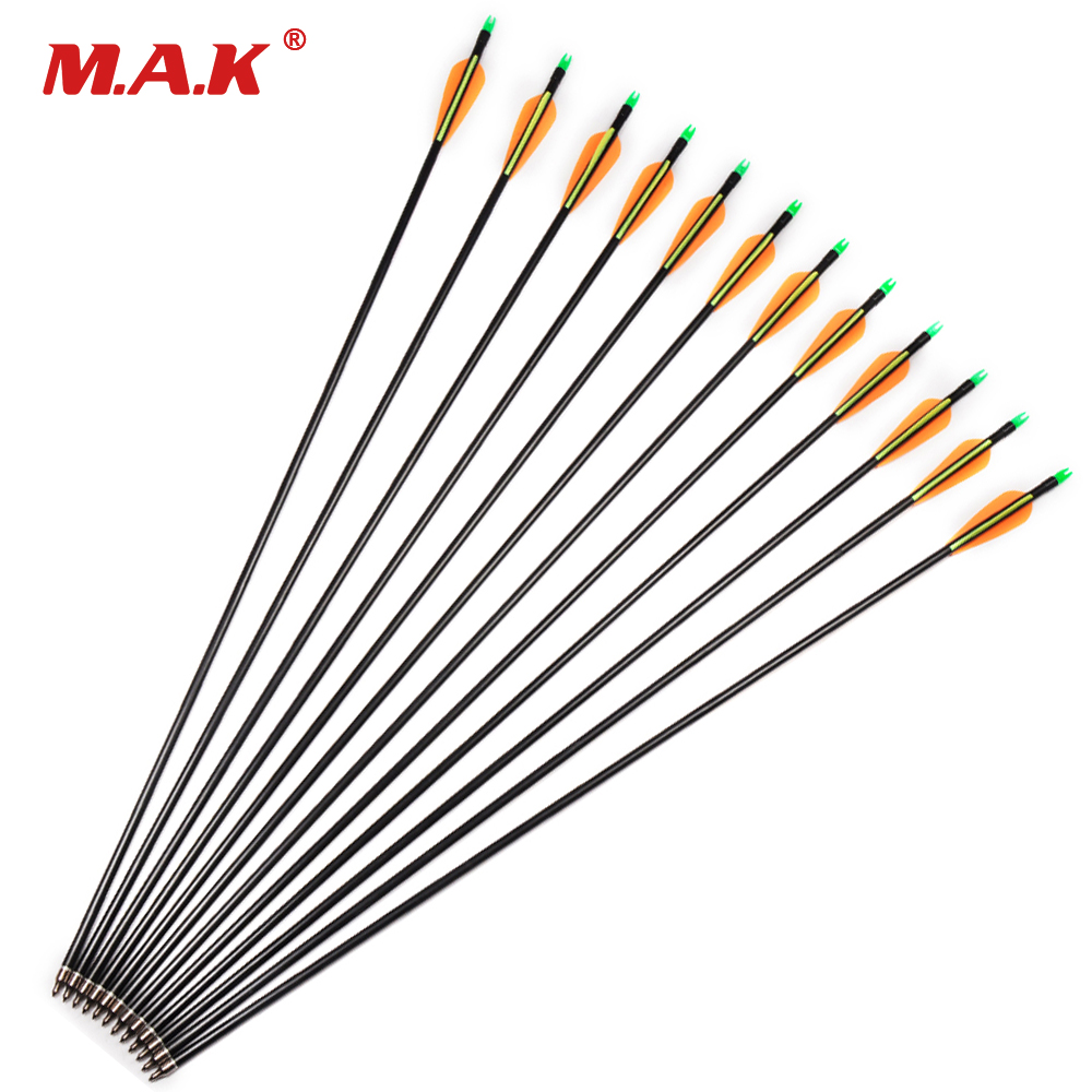 61224pcs 30 Inches Spine 500 Fiberglass Arrows with Replace Arrowhead Adjustable Nock for Hunting Compound Bow Long Arrows