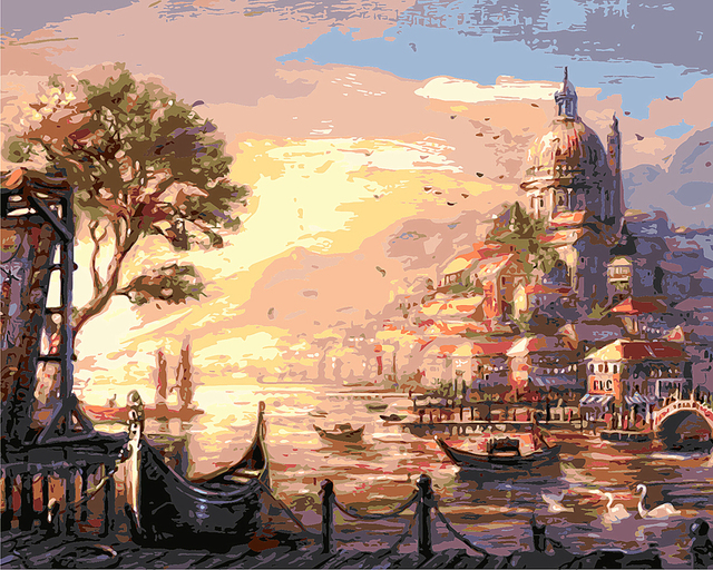 Canvas Picture Russia dusk diy Digital Oil Painting By Numbers ...