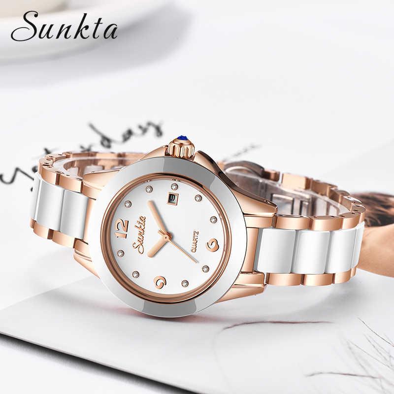 SUNKTA moda kobiety zegarki różowe złoto panie bransoletki z zegarkiem Reloj Mujer 2019New kreatywne wodoodporne zegarki kwarcowe dla kobiet
