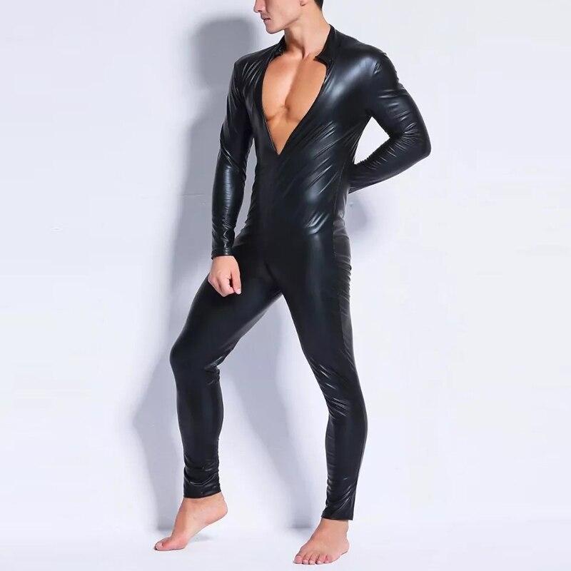 Sexy Plus Size Men Black Sexy Catsuit Bodysuit Overalls Wet Look Dance Wear Long Sleeve  Zipper Gay Latex Skinny Vinyl Jumpsuit