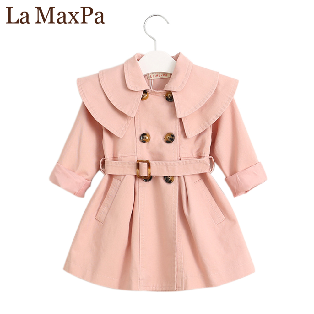 La MaxPa New Spring Autumn Girl Windbreaker Cotton Coat Double-breasted Kids Trench British Style Long Section Children Outwear new pure linen retro men s wing chun kung fu long robe long trench ip man robes windbreaker traditional chinese dust coat