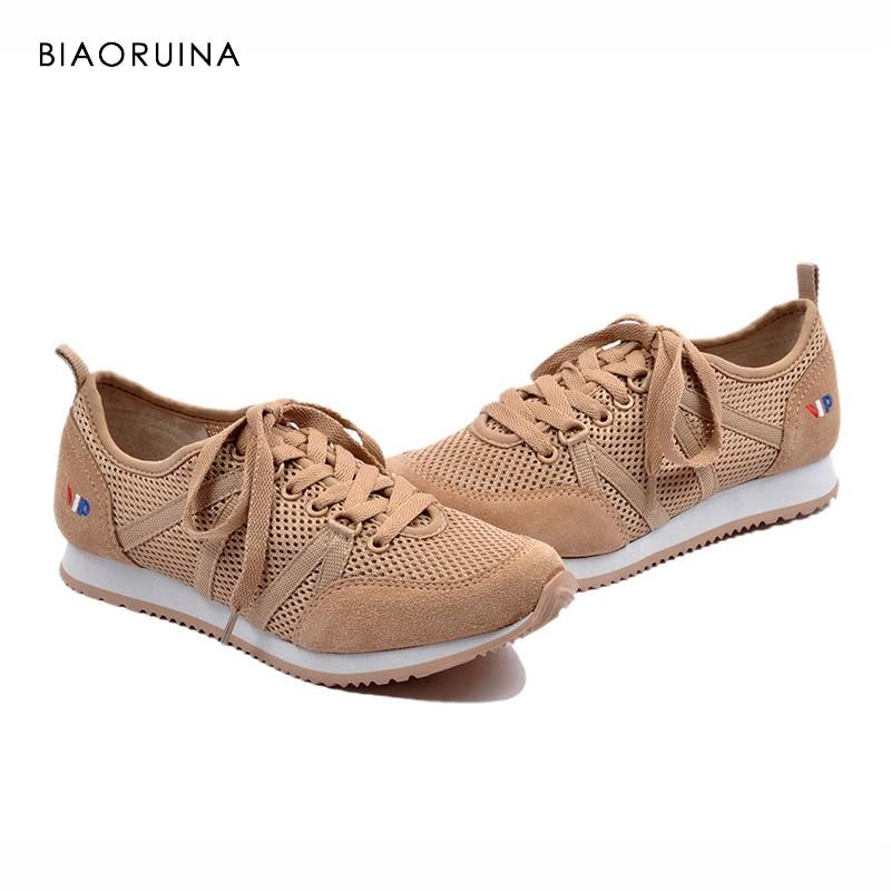 BIAORUINA Women Casual Shoes Fashion Shoes Cross tied Shoes Women Comfortable Mesh Boat Flats Platform Women