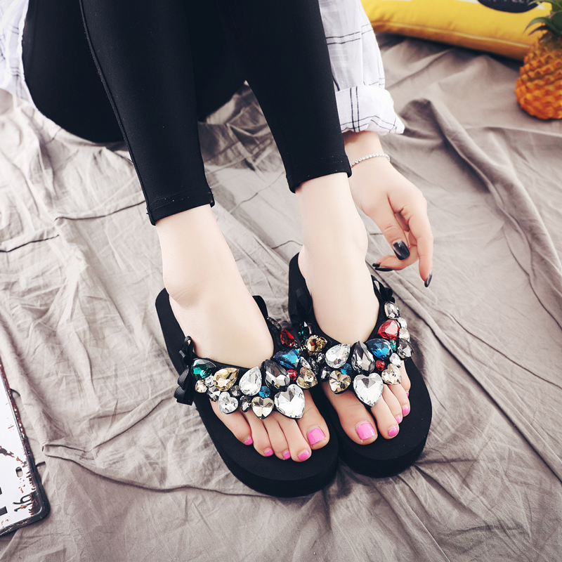 Summer Lady's Crystal Slippers High Heel Sandals Casual Fashion Female Beach Flip Flops Women Brand Solid Black EVA Wedges Shoes купить в Москве 2019