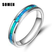 4มิลลิเมตรทังสเตนคาร์ไบด์แหวนโอปอลไฟสีฟ้าInlayแต่งงานแหวนหมั้นสำหรับผู้หญิงแหวนค๊อกเทล
