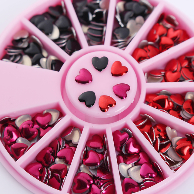 1 Box Nail Rhinestone Heart Design Mixed Color Red Black 3D Nail Art Decoration in Wheel Manicure DIY Nail Art Decoration