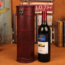 Antigua caja de vino tinto Titular Retro forma Redonda de madera del vino contenedor Portátil Caja Del Vino Del Metal Artesanía de Madera Decoración de La Boda regalo