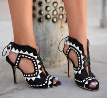 2018 Summer Fashion High Heels Sexy Open Toe Beading Lace Up Ladies Sandals Cut-Outs Side High Quality Party Shoes Dress Shoes women gladiator sandals cross tied open toe high heels pumps cut outs serpentine lace up sandals party wedding sexy ladies shoes