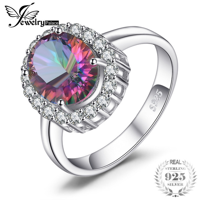 3ct Natural Mystic Fire Rainbow Topaz Engagement Wedding Ring Women Solid Genuin