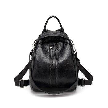 b7b6cdb4d753 Корейский стиль женский натуральная кожа рюкзак большой емкости ноутбук  рюкзак сплошной цвет школьные сумки молния рюкзак с посланием