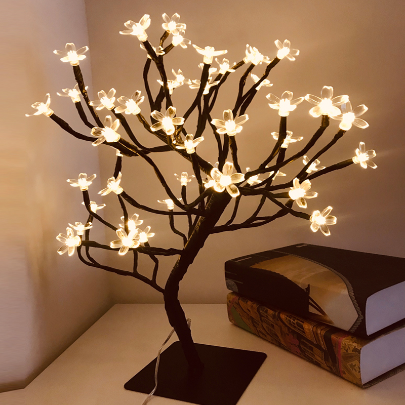 Switch Control Tree Bright 24-48 Led Cherry Blossom Desk Top Bonsai Tree Light Black Branches Festival Home Party Wedding Indoor