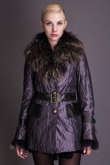 BASIC EDITIONS 2014 осень куртка средняя приталенный силуэт с ремнем роскошный воротник  настоящий мех енота без капюшона