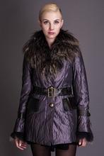 Basic Edition Autumn Fall Metallic Silk Fabric Cotton Coat Jacket with Raccoon Fur Collar and Belt – S050