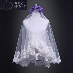 Image 2 - Veu De Noiva Ivory Champagne Wedding Veil Lace Edge Bridal Veil