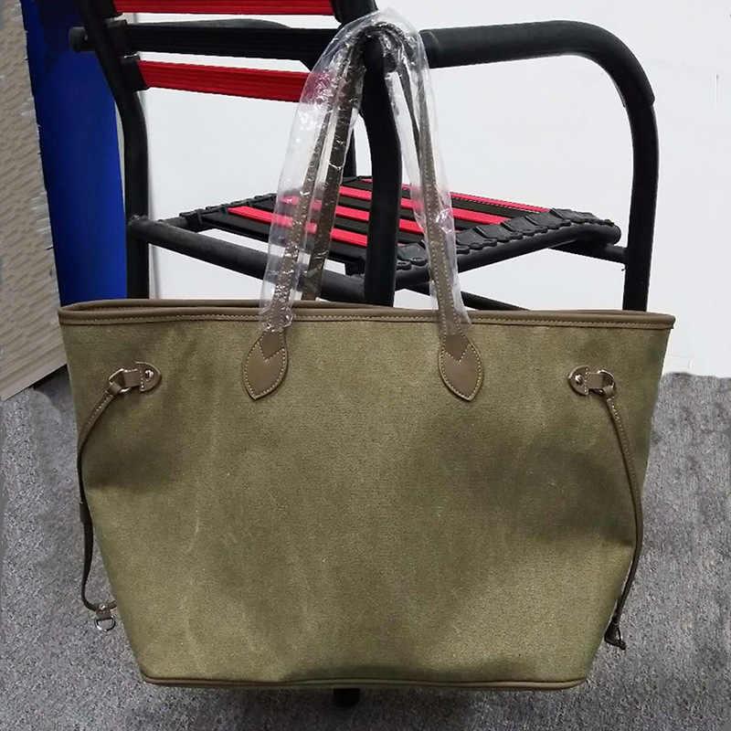 Bolso de lona verde del ejército bolso de mano bolsas de mano para las mujeres 2018 bolso de compras moda clásica