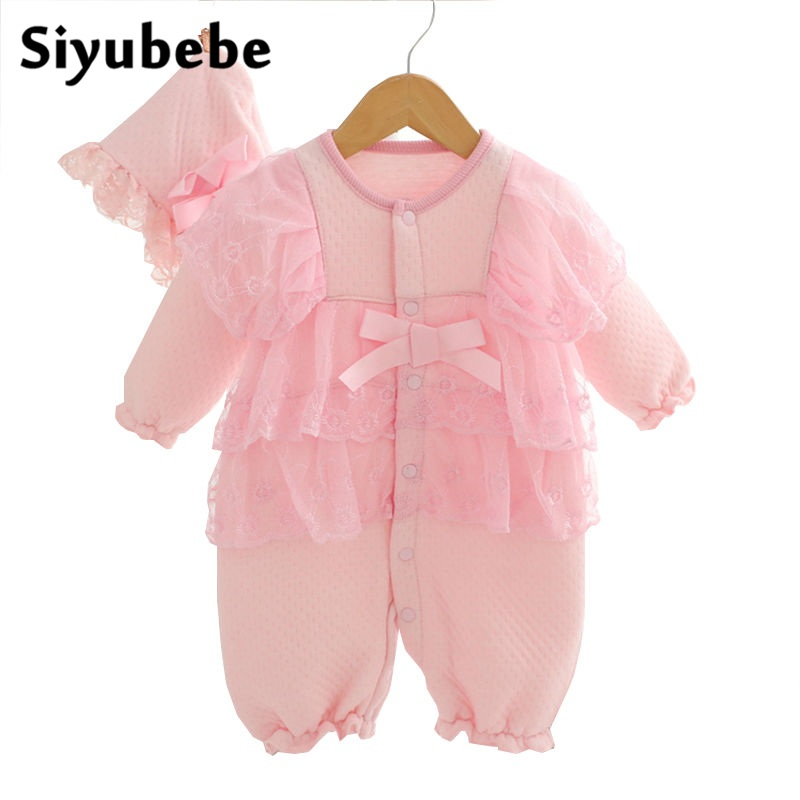 Newborn Baby Girl Clothes Sets 2016 Fashion Brand Winter Thicken Princess Lace Infant Dress Costume Cotton Baby Girl Rompers newborn baby girl clothes air cotton winter thicken coveralls rompers princess lace infant girls clothing set jumpsuit hats