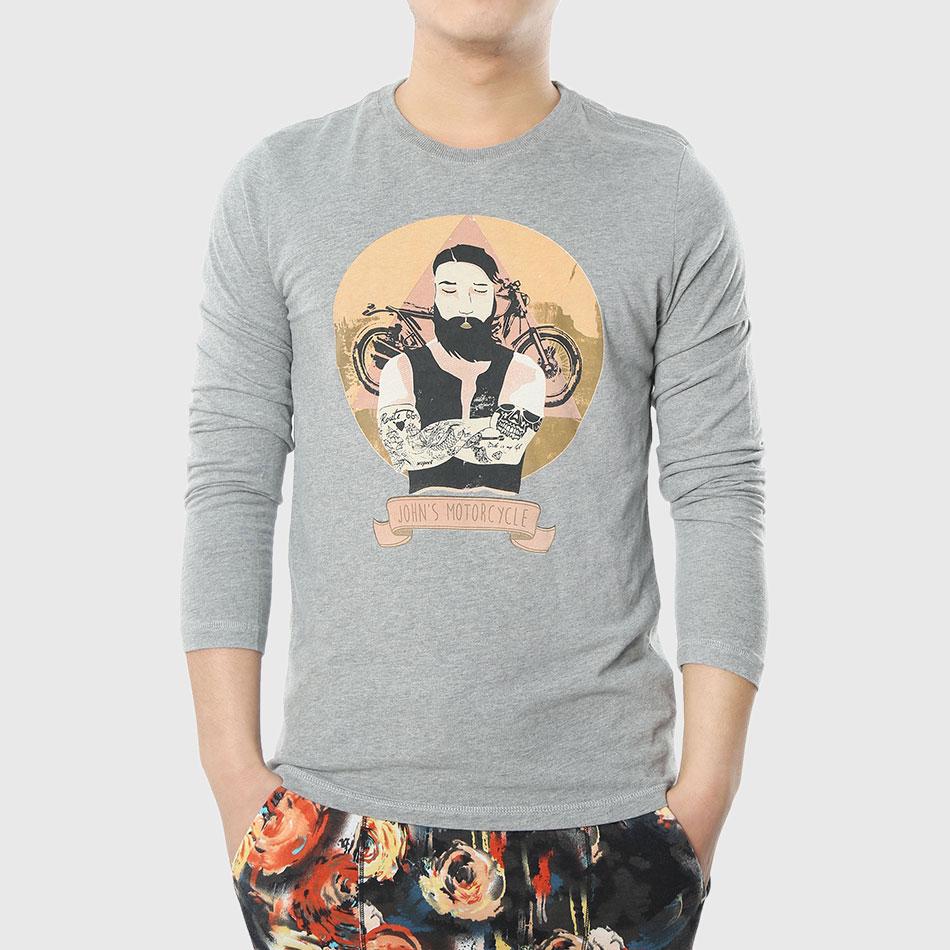 T shirt japanese design - Men Graphic Funny T Shirts 3d Character Print T Shirt Long Sleeve Tattoo Smoking Man Design