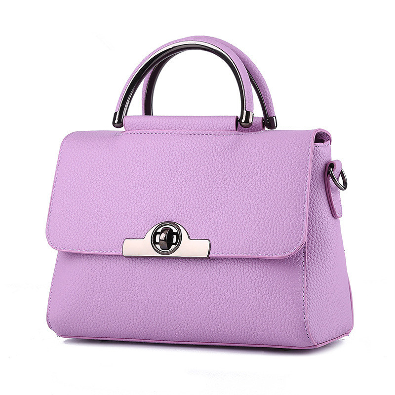 Fashion Cusual Violet PU Women Handbag Shoulder Bag Twist Turn Lock Crossbody Messenger цена
