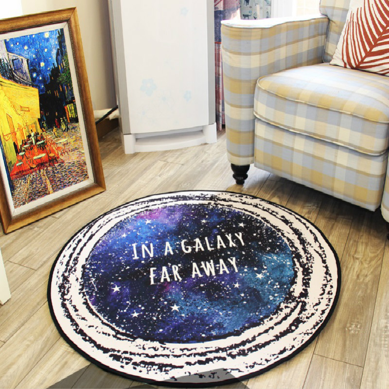 WINLIFE Creative Rugs Shining Galaxy Mats Decorative Carpets Computer Chair Mats Tea Table Rugs Bedside Mats Non-Silp Rugs