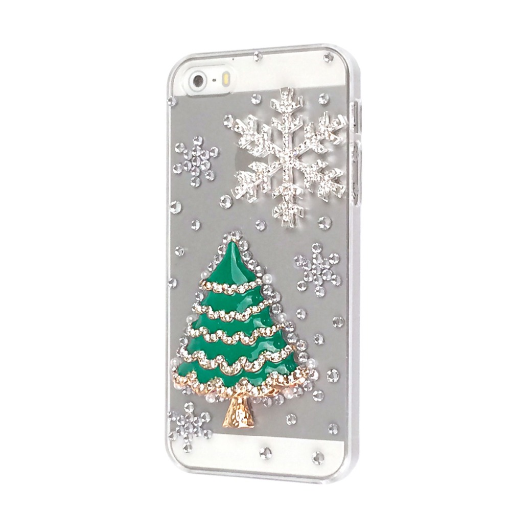 3d christmas tree tower snow phone cases for iphone 5 for iphone 5s case hard back cover christmas gift in rhinestone cases from cellphones