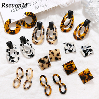 New Fashion Tortoise Color Leopard Print Acrylic Acetic Acid Sheet Geometric Circle Square Long Drop Earrings for Women GirL