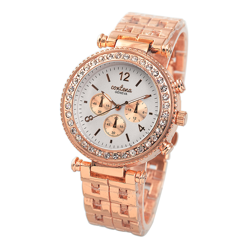 CONTENA Top Brand Luxury Watch Women Rose Gold Watches Quartz Watch Ladies Luxury Rhinestone Watch Lady Hour relogio feminino women fashion watches rose gold rhinestone leather strap ladies watch analog quartz wristwatch clocks hour gift relogio feminino