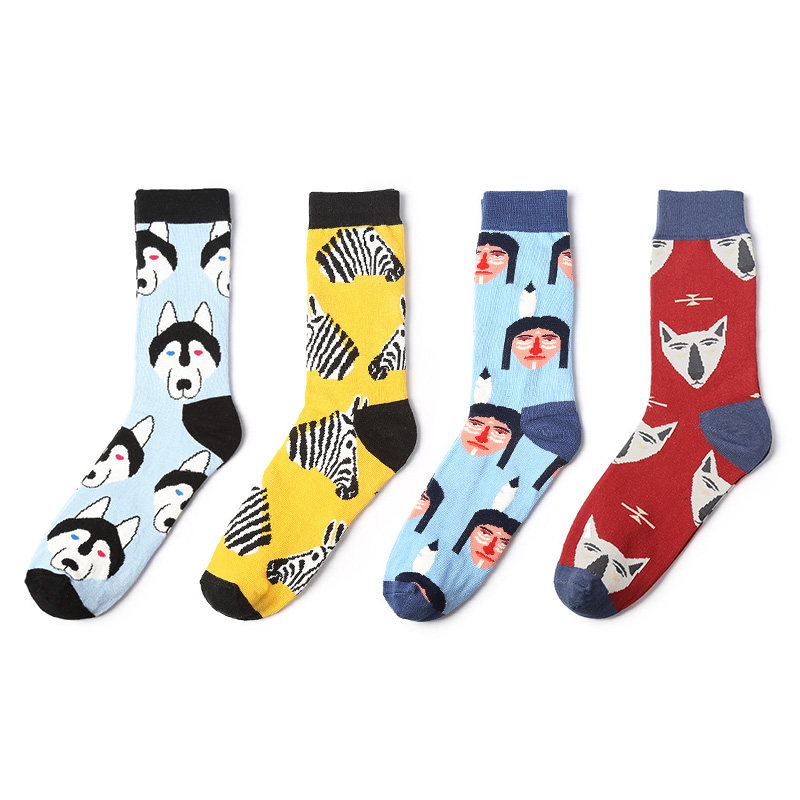 himiya ko indians zebra husky pencil fox novelty patterned women socks men cool combed cotton long funny colorful unisex 1pair
