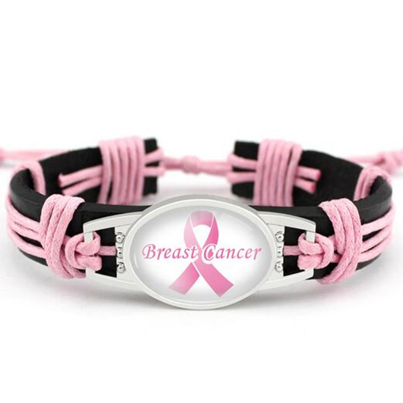 Breast Cancer Awareness Leather Bracelet Pink Ribbon Genuine Leather Bracelets & Bangles For Men Women Bracelet Jewelry 10PCS