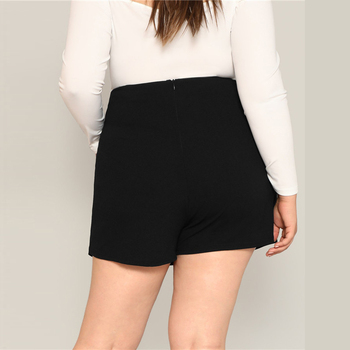 Black Casual Split Detail Women Plus Size Shorts Skirts