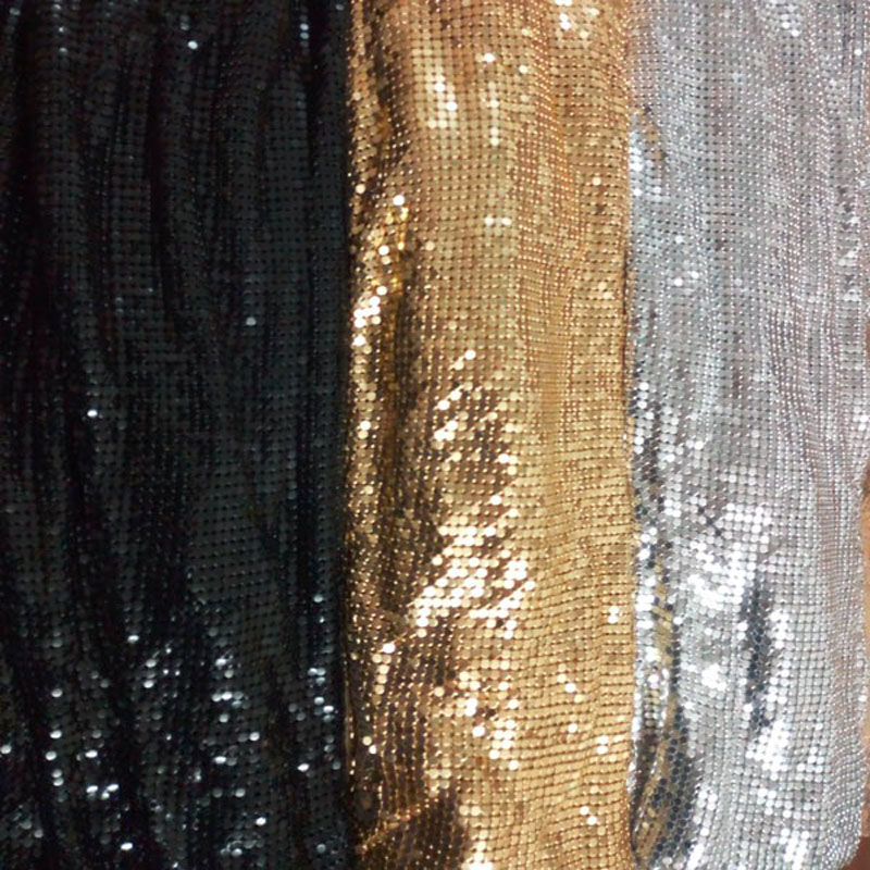Metal Mesh Fabric Metallic metalic Metal Sequin Sequined Square Fabric Curtain Square GOLDEN SILVER BLACK free shipping 24X20cm in Fabric from Home Garden