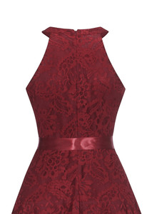 Image 5 - OML 526J # フロントショートロングバックワインレッドホルターボウウエディングドレス結婚式パーティードレスウエディングドレス卸売ファッション服