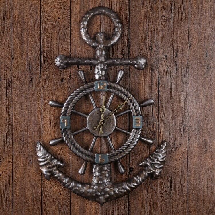 L'europe vintage ship anchor mur horloges creative mur horloges cadeau idées mur montre décorations murales en métal shabby chic horloge