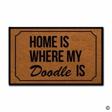 Funny Printed Doormat Entrance Floor Mat - Non-slip Doormat- Home Is Where My Doodle Designed Indoor Outdoor Door Non-wov