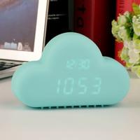 Симпатичные голубой облако Форма звук Управление цифровой будильник время день Дисплей Популярные Горячая распродажа!