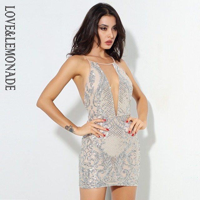 Love&Lemonade Silver Open Back Geometric Pattern Sequins Mesh Stitching Mini  Dress LM0578