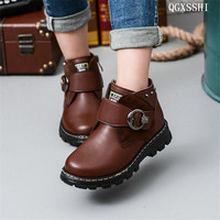 British Style Genuine Leather Shoes New Winter Snow Boots Children Boys And Girls Warm Shoes Kids