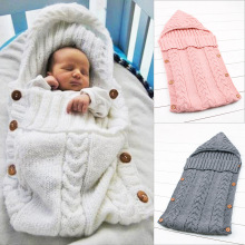 Baby Blanket Newborn Solid Sleeping Bag Knitted Wrapping Lovely Swaddle Boys Girls Kids 0-24 Monthes Infant Accessorie