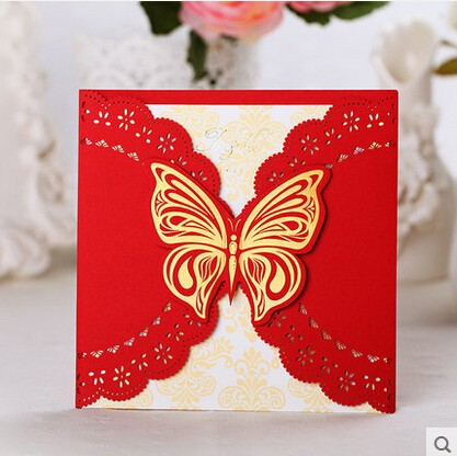 PASAYIONE Hollowed Butterfly Shaped Wedding Invitation Card Red