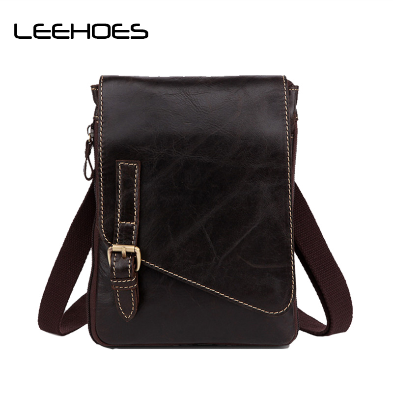 Men's Briefcase Genuine Leather Men Bag Casual Fashion Men Messenger Bag Brand Design Dark Brown Small Crossbody Bags New Travel lignt brown stitching design crossbody bags