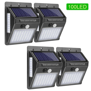 Outdoor lighting 100 led solar wall light waterproof outdoor lamp led with pir motion sensor exterior light