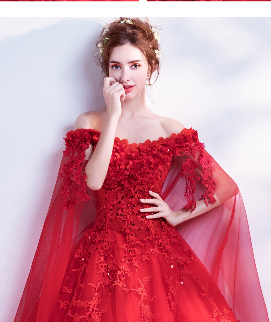 Church Wedding Dresses 2018 Red Elegant 3D Flower Lace Tulle Plus ... 5208a9bdda11