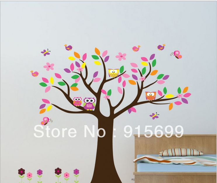 Owl Scroll Tree Hoot III Wall Decal Art  Nursery Stickers Removable Baby Decor